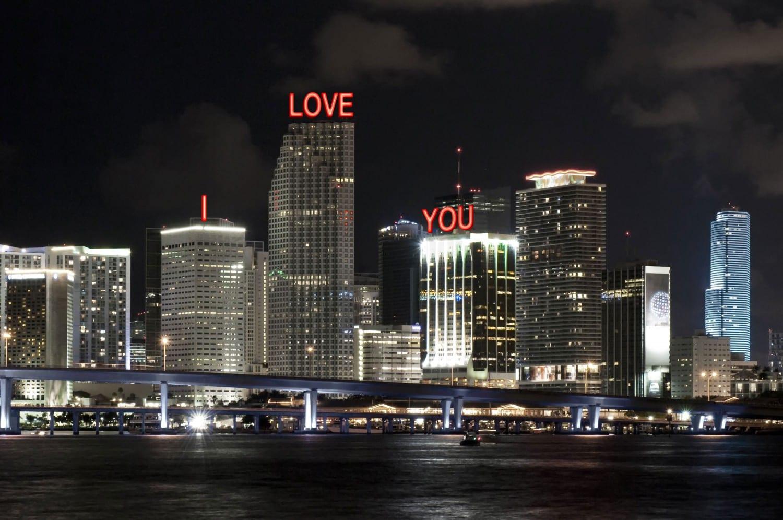 R & R Studios, Roberto Behar, Rosario Marquardt, Georgy John, Miami, Downtown Miami, I Love You, Public Art, Sign, Monument