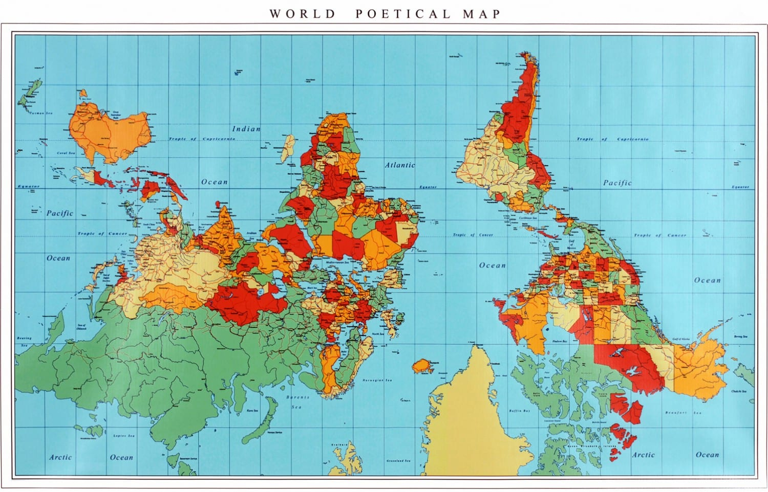 WORLD POETICAL MAP: R & R Studios, Roberto Behar & Rosario Marquardt